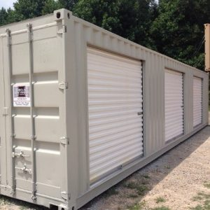 40 foot storage container with 3 roll up doors