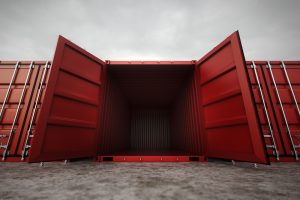 shipping container sitting open